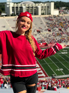 Shelby Cleek at an IU football game